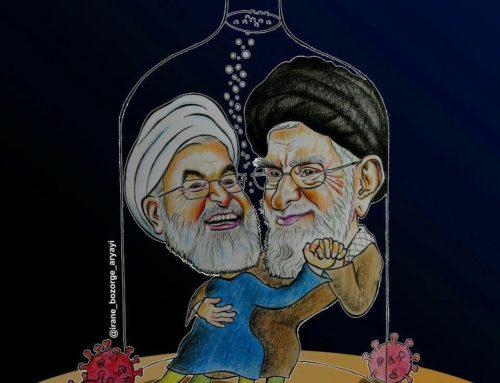خامنه ای و روحانی در شیشه الکل (کاریکاتور از ایران بزرگ)