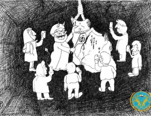 حکومت آخوندی در حال پاره پاره کردن کشور ما (کاریکاتوری از گربه)