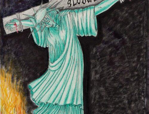 روزی که مجسمه آزادی به صلیب کشیده شد (طرحی از گربه)